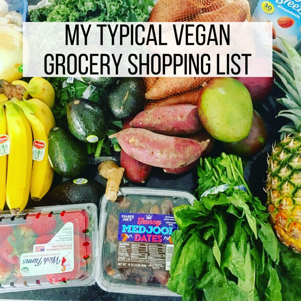 my typical vegan grocery shopping list